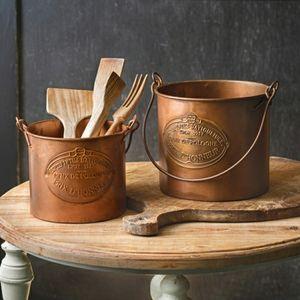 Home Kitchen Storage Set of Two Copper Buckets